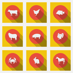 Fashionable flat icons with long shadows of meat products.