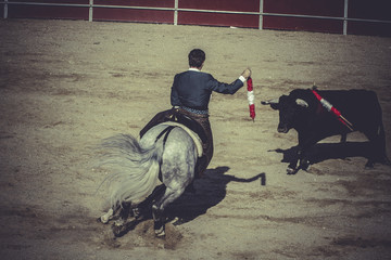 pain bullfight, traditional Spanish party where a matador fighti