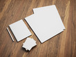 blank stationery set on wood background - 65959113
