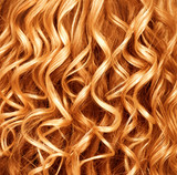 Curly ginger hair closeup. Permed red hair background poster