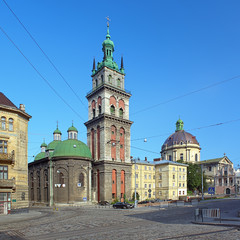 Assumption Church with Korniakt Tower and Dominican Church in Lv