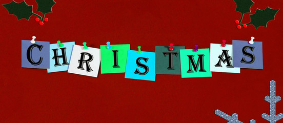 Christmas in words for Xmas sign, card, design or template.