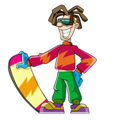 cartoon guy with dreadlocks in snowboarding