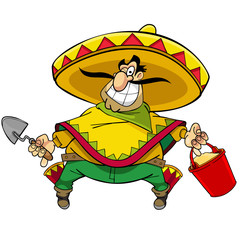 Cartoon Mexican in sambrero with a bucket and trowel smiling