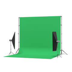 Green Backdrop with lights