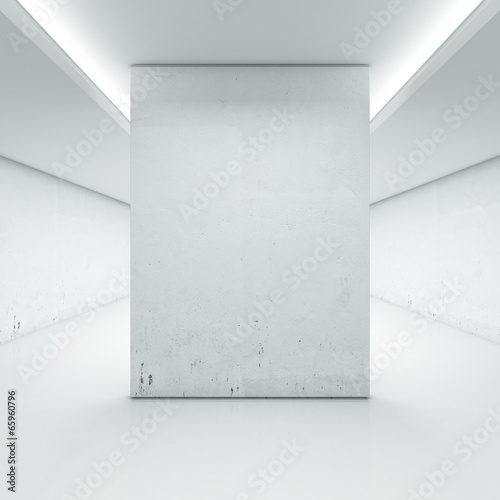 Fotobehang Wand Large hall with white wall