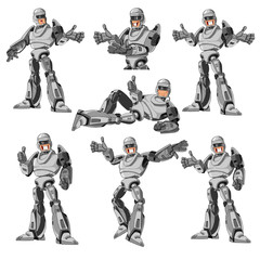 robot in different poses and emotions, set