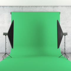 Photo Studio with Lights and Green Backdrop
