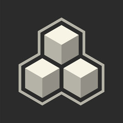 Abstract icon with 3d cubes