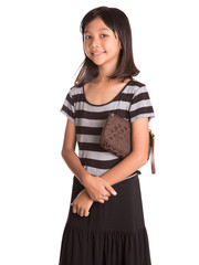 Young Asian Malay girl with a brown purse