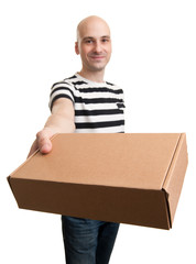 Young Man Holding Card box