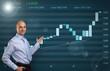 Businessman showing Stock market graph