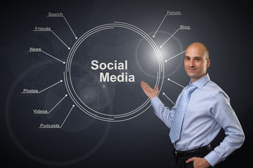 Young businessman. Social media diagram concept