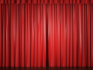 red curtains with a bright spot