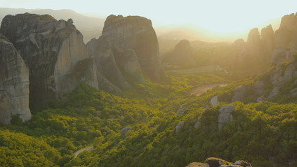 Meteora at sunset. Greece