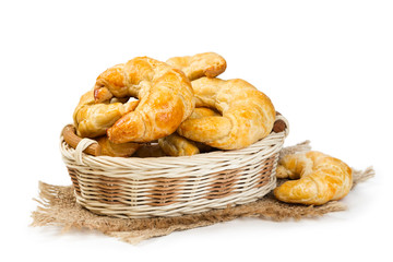 Croissants in a wicker basket