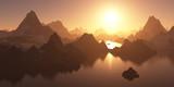 Untergehende Sonne. Schlafende Berge
