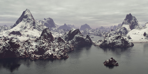 Snowcovered mountains under cloudy sky.