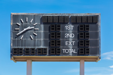 old style score board at football stadium with bluesky