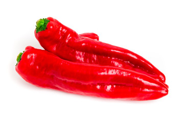 Red hot peppers isolated on white background