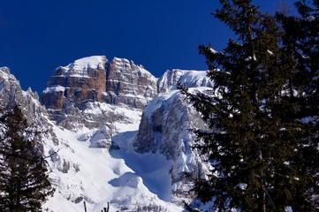 Dolomites rock in winter time