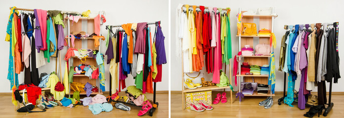 Dressing closet before messy after tidy arranged by colors.