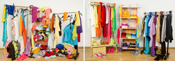 Wardrobe before messy after tidy arranged by colors.