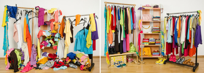 Wardrobe before untidy after tidy.Woman dressing messy-arranged.