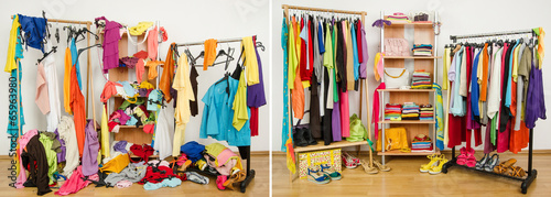 Wardrobe before untidy after tidy.Woman dressing messy-arranged. - 65963980