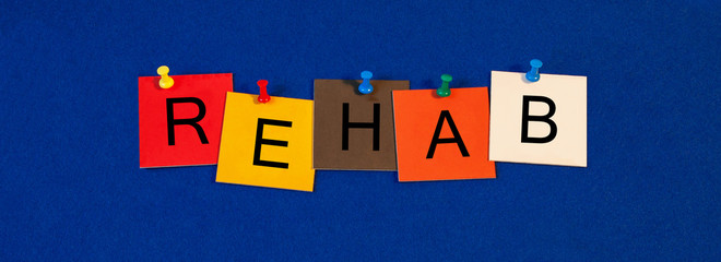 Rehab, sign series for rehabilitation, medical health care and s