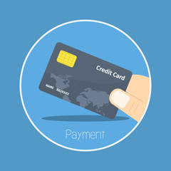 "Payment : Vector ""credit card"" icon flat design"