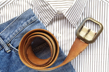 Blue denim jean with shirt and belt