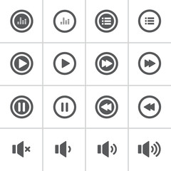 audio and music bold icon set, flat design icon