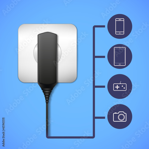 Charger into an electrical outlet. - 65965511
