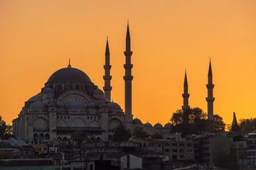 Moschee in Istanbul bei Sonnenuntergang.