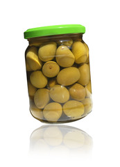 Olives in glass jar