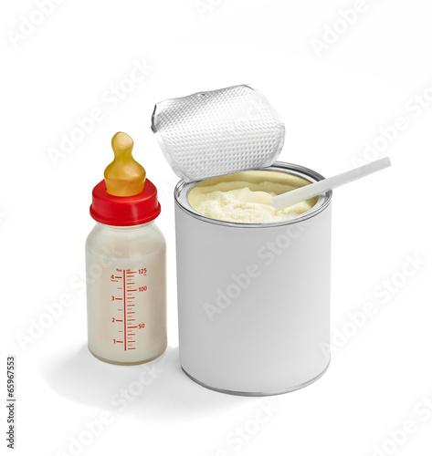Leinwandbild Motiv baby infant food powder milk spoon