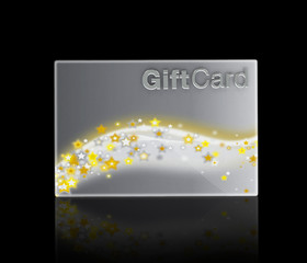 Luxury gift acrd with silver background and gold stars