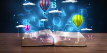 Ouvrir le livre avec lumineux résumé de fantaisie nuages et des ballons