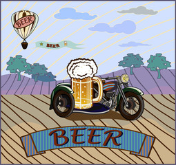 retro banner motorcycle and a keg of beer