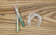 Leinwanddruck Bild - Teeth Whitening Items on Aged Wood