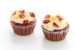 Red cupcake velvet isolated white background