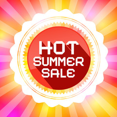 Hot Summer Sale Retro Vector Illustration on Colorful Background