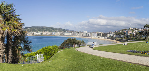 Beach of La Concha, Donostia San Sebastian panoramic view