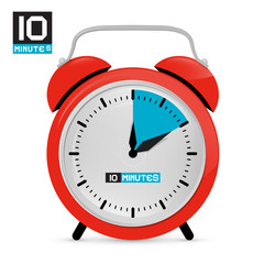 Ten 10 Minutes Red Alarm Clock Vector Illustration