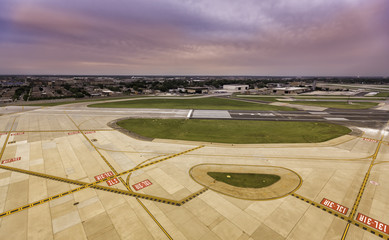 Aerial view of empty airport runway