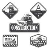 Set of under construction emblems, labels and designed elements - 65970932