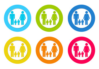 Colorful rounded icons with family symbol