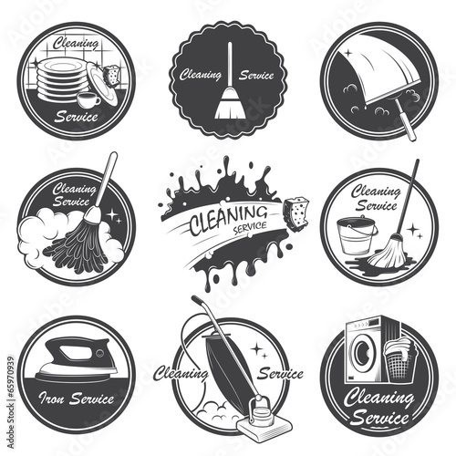 Set of cleaning service emblems, labels and designed elements. - 65970939