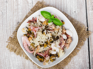 Wild rice with seafood
